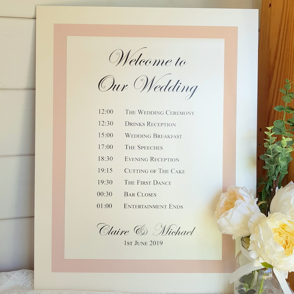 blush and ivory order of the day board