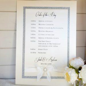 silver horseshoe wedding sign