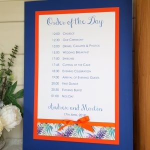 tropical wedding order of the day
