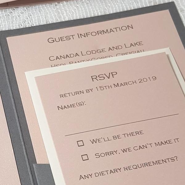 blush and grey rsvp card