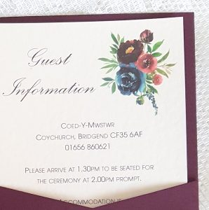 burgundy floral guest information card