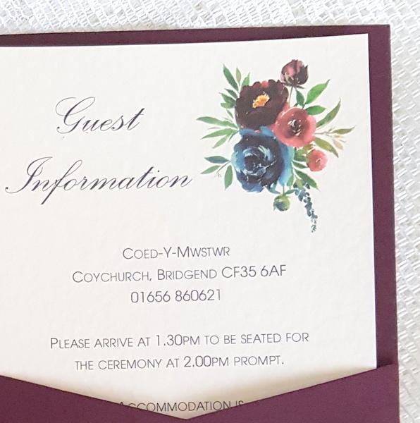 burgundy floral guest information card