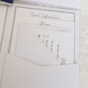 silver glitter rsvp and info cards