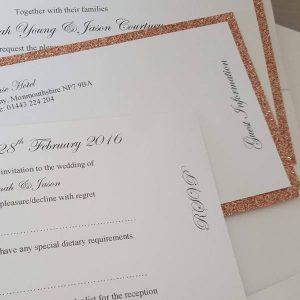 rose gold pocketfold invitation