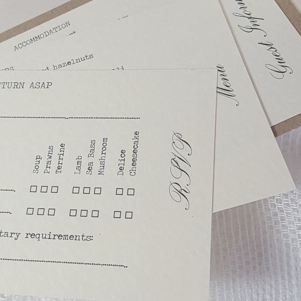 rsvp card with menu choices