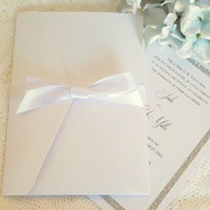simple all white pocketfold wedding invitation