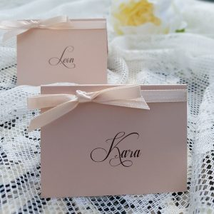 classic nude and cream wedding place cards