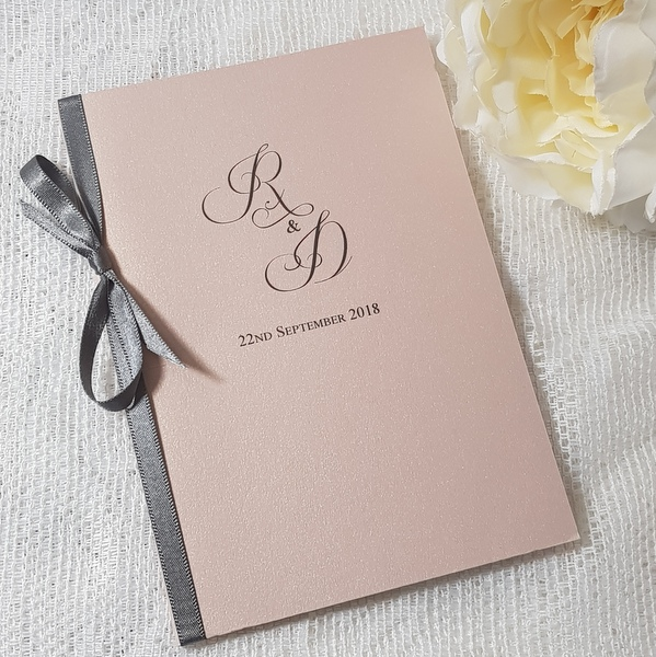 blush and grey wedding order of service