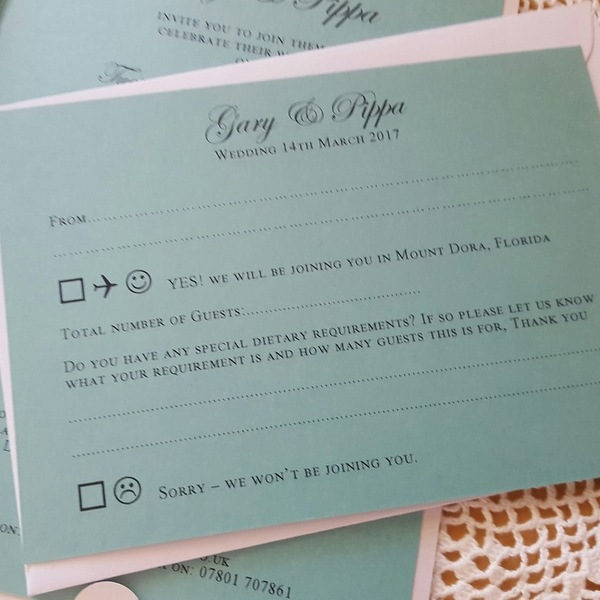 teal wedding reply card