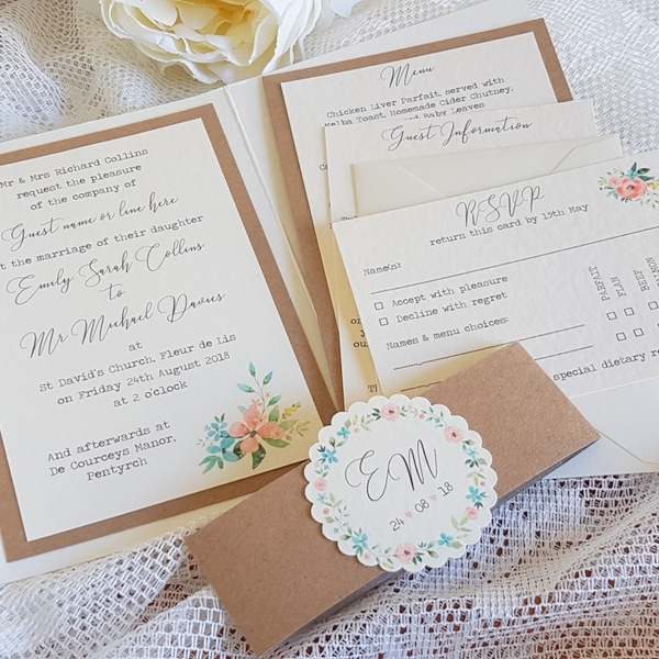 pocketfold invitation with floral print