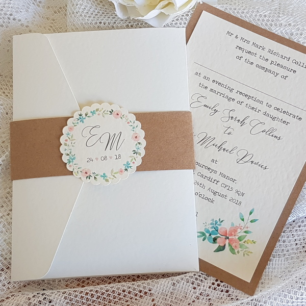 wedding invitations with rustic floral design