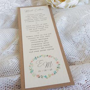 wedding menu with rustic flower wreath