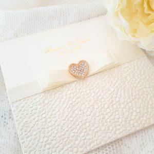 sequin sparkle elegant ivory and gold invitation
