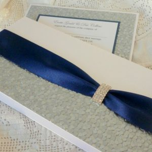 sequin sparkle invitation navy and silver