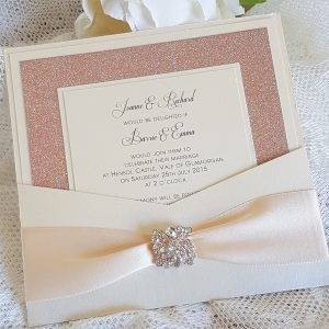 wallet invitation with rose gold glitter and diamante embellishment