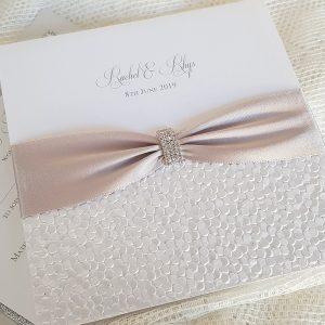 sequin sparkle white and silver invitation