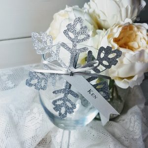 silver glitter snowflake place card