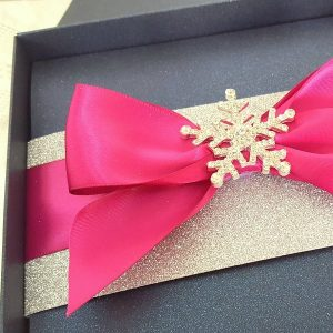 glamorous navy and pink snowflake stationery