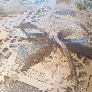 laser cut snowflake wedding invitation