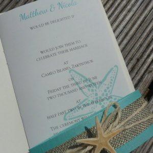 Passport invitation with starfish