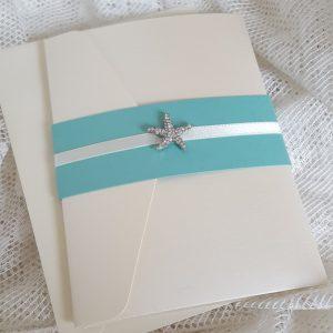 pocketfold invitation with diamante starfish