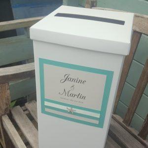 wedding post box with diamante starfish