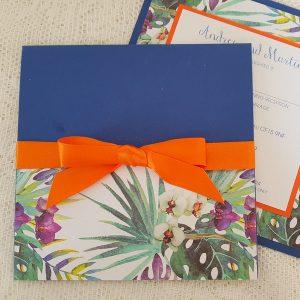 blue and orange orchid wedding invitations