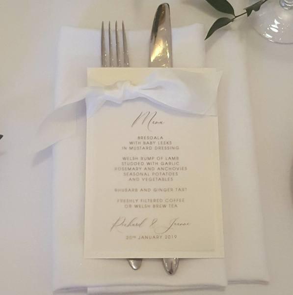 wedding menu with silk ribbon