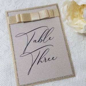 champagne and vellum table number