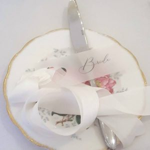 vellum place tag with ivory silk ribbon