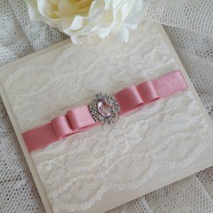 vintage lace and dusky pink gem invitation