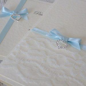 vintage lace wedding invitation with diamante heart