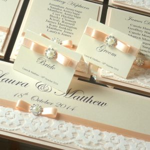 vintage lace peach and pearls table plan place cards