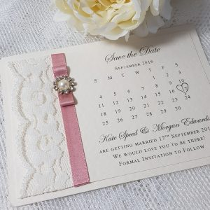 vintage lace pink save the date
