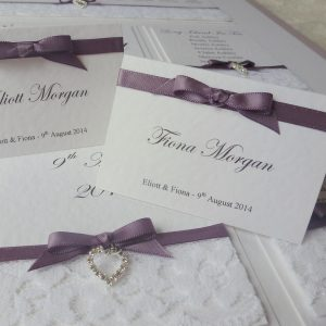 wedding place card and table plan with diamante heart