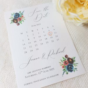 save the date deep florals
