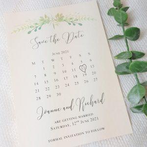 save the date greenery