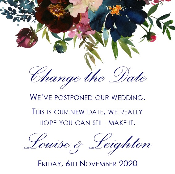 digital change the date card with burgundy floral design