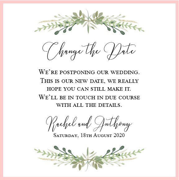 pretty greenery and pink wedding change the date digital image