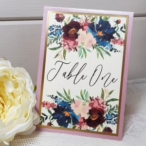 floral wedding table name card