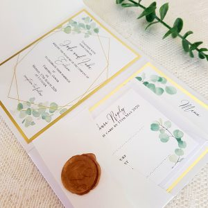 greenery and gold wedding invitations with wax seal