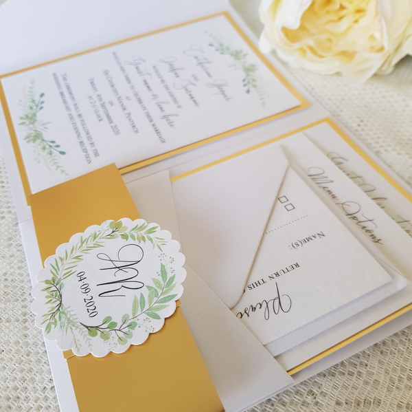 Botanical greenery and gold handmade wedding invitations