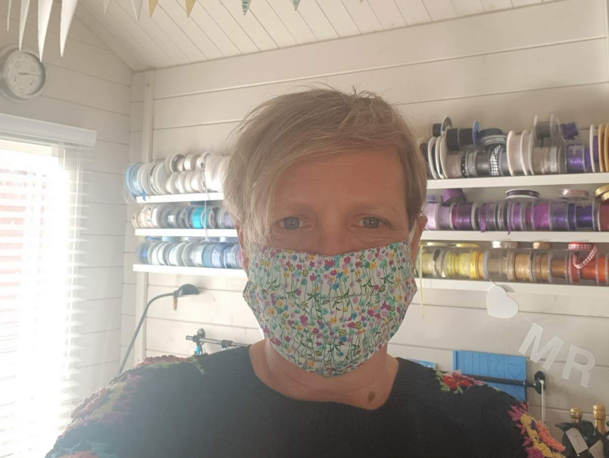 Cardiff wedding invite designer Jo wearing a mask to stay safe during covid secure consulations