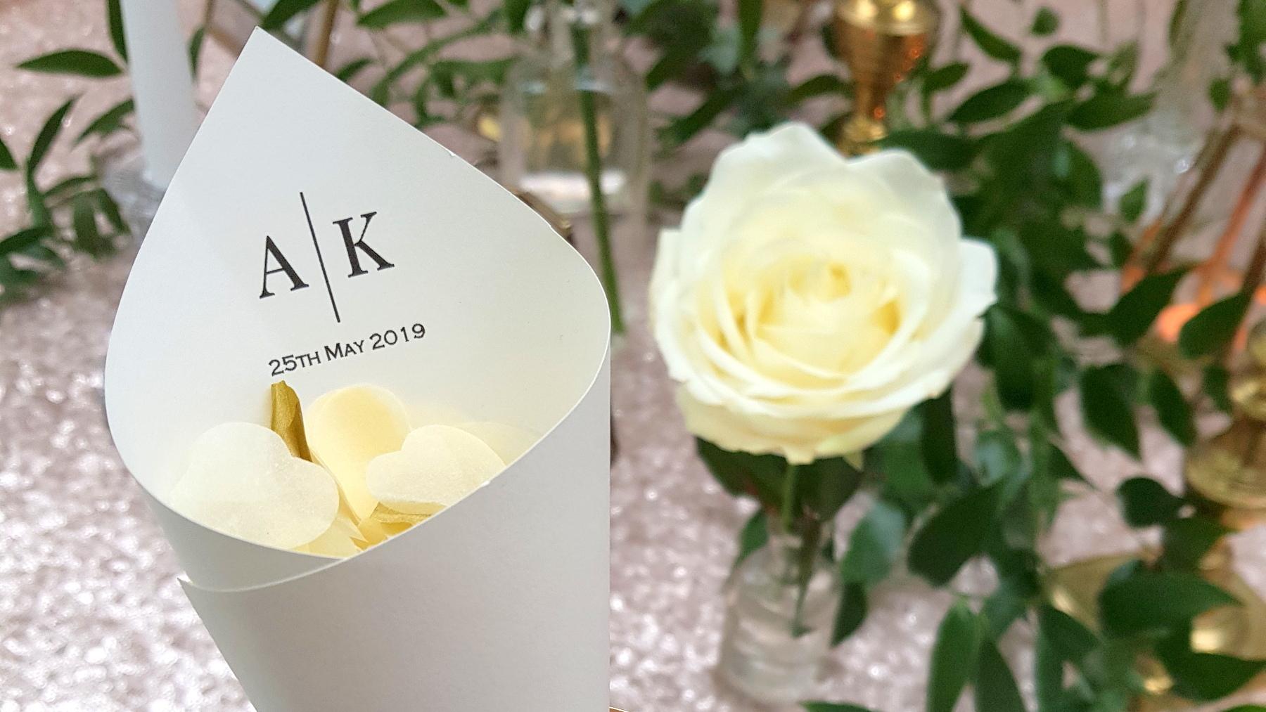 personalised wedding confetti cone