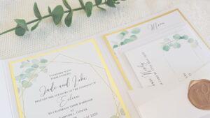 greenery and gold handmade wedding invitations
