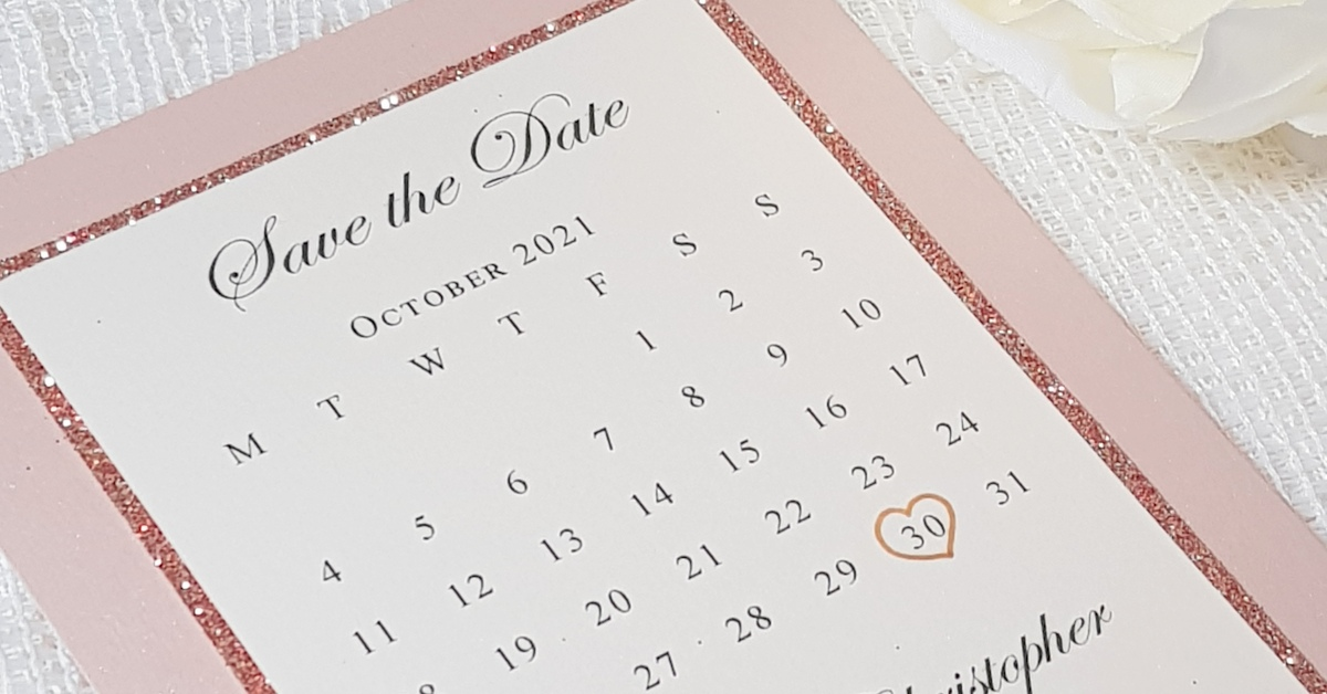 Blush pink and rose gold calendar save the date card