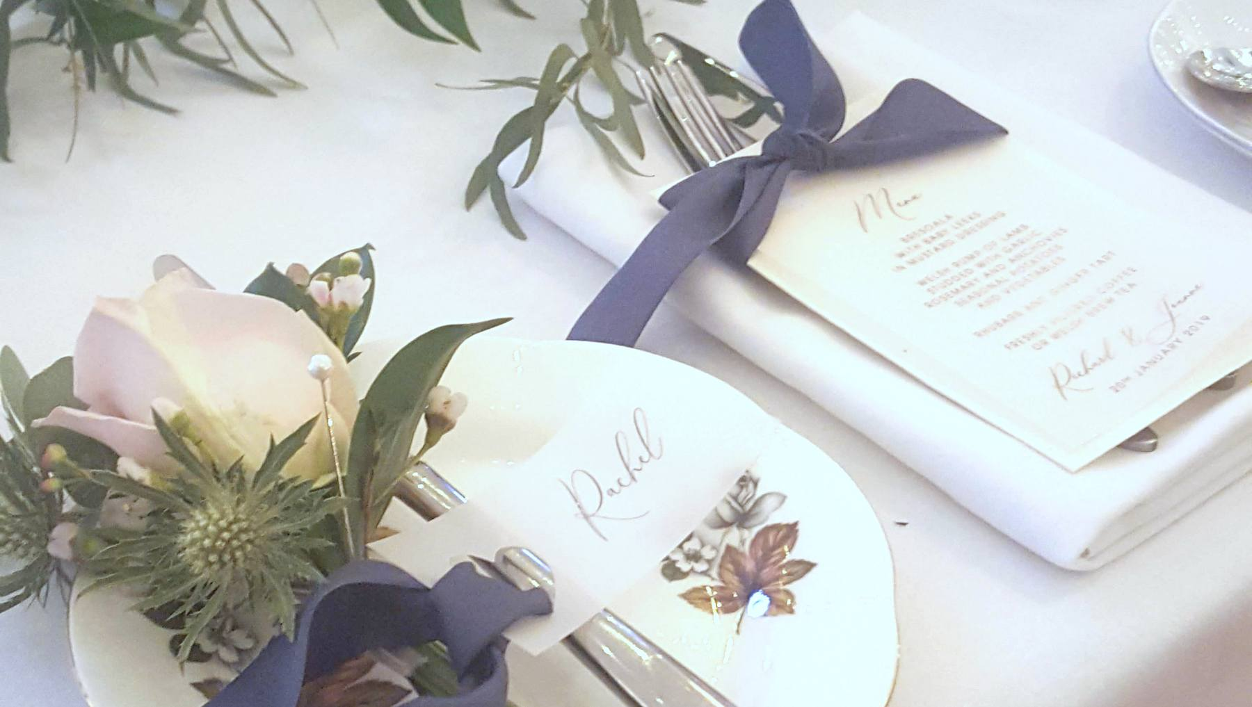 vellum and silk ribbon wedding place settings