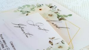 handmade vellum wedding invitations with a delicate floral design