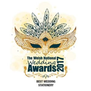 Welsh National wedding Awards best stationery award 2017 for By Jo Wedding stationery Cardiff