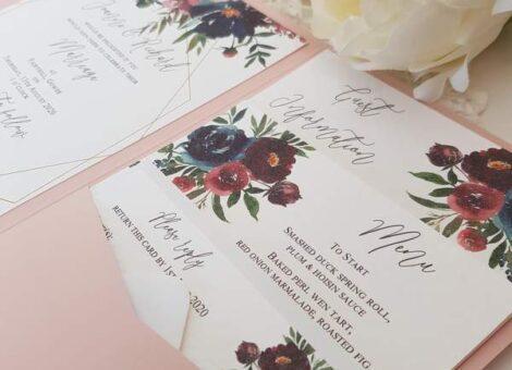 blush and burgundy floral handmade wedding invitation